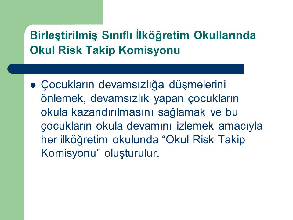 Birleştirilmiş Sınıflı İlköğretim Okullarında Okul Risk Takip Komisyonu