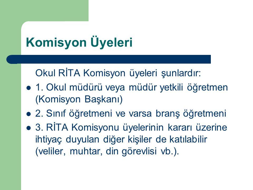 Komisyon Üyeleri Okul RİTA Komisyon üyeleri şunlardır: