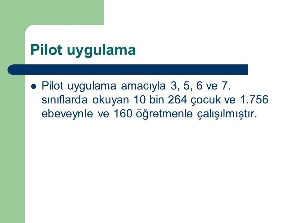 Pilot uygulama Pilot uygulama amacıyla 3, 5, 6 ve 7.