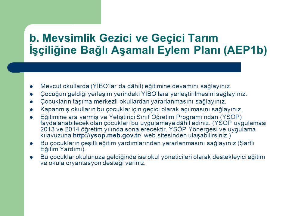 b. Mevsimlik Gezici ve Geçici Tarım İşçiliğine Bağlı Aşamalı Eylem Planı (AEP1b)