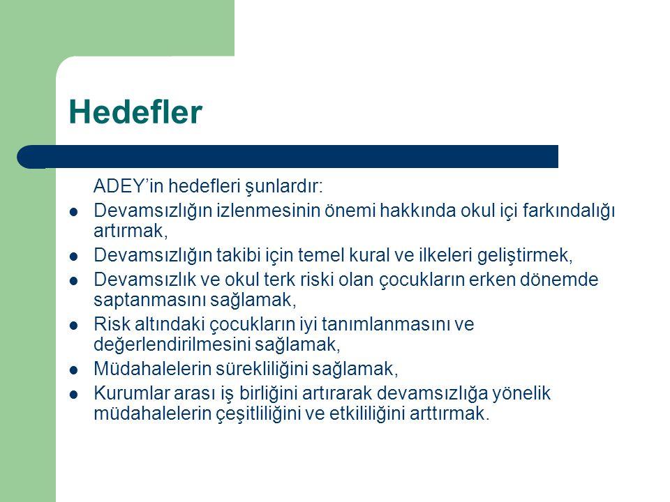 Hedefler ADEY'in hedefleri şunlardır: