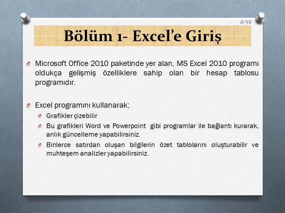 Bölüm 1- Excel'e Giriş