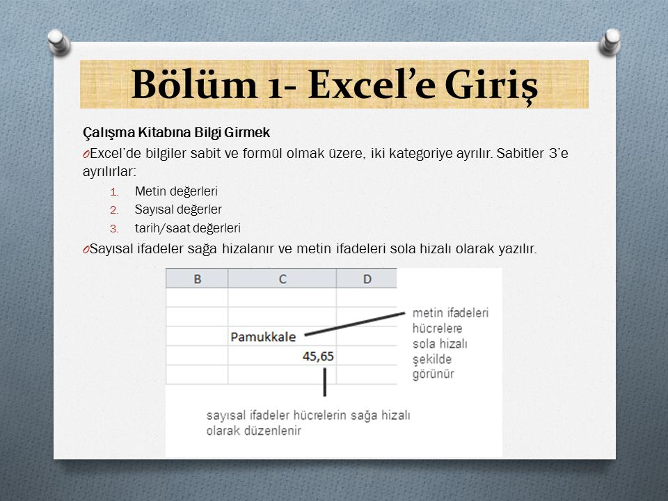 Bölüm 1- Excel'e Giriş Çalışma Kitabına Bilgi Girmek