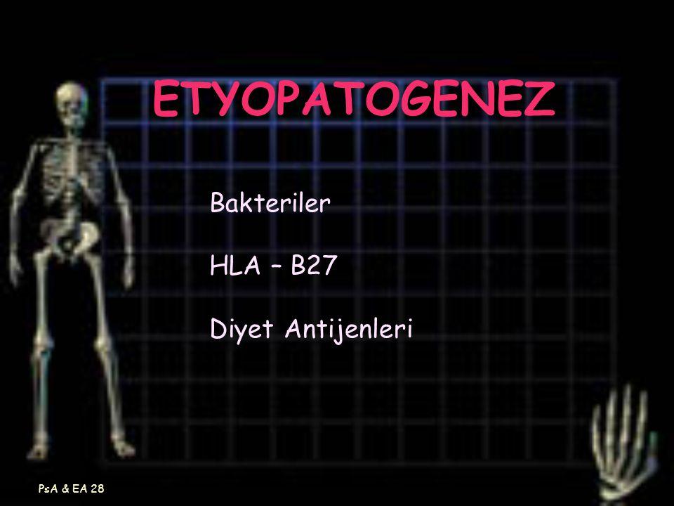 ETYOPATOGENEZ Bakteriler HLA – B27 Diyet Antijenleri