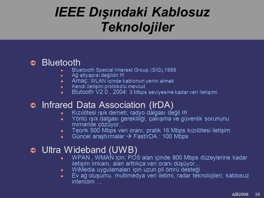 IEEE Dışındaki Kablosuz Teknolojiler