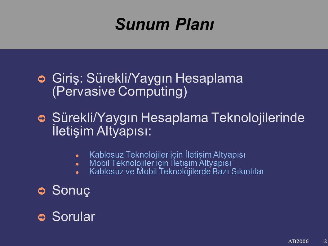 Sunum Planı Giriş: Sürekli/Yaygın Hesaplama (Pervasive Computing)