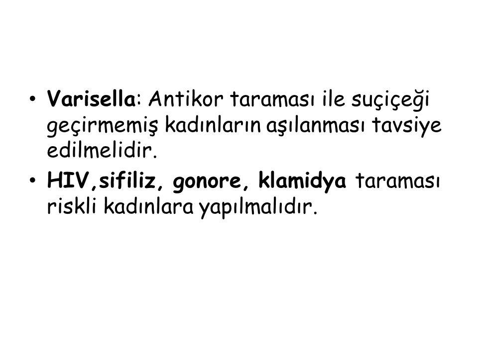 Varisella: Antikor taraması ile suçiçeği geçirmemiş kadınların aşılanması tavsiye edilmelidir.