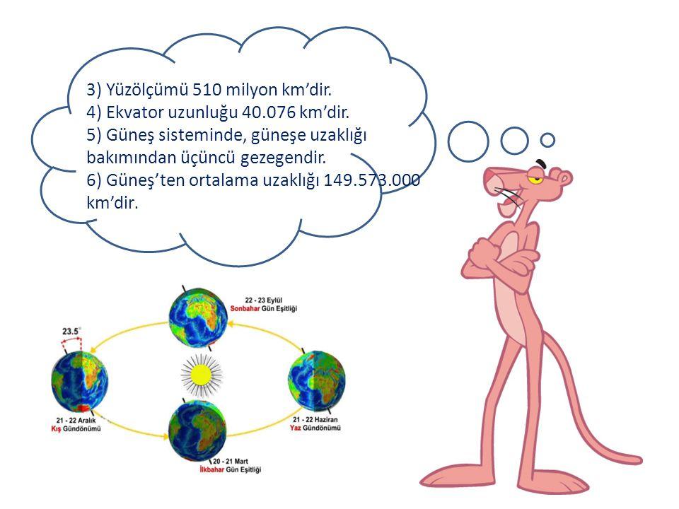 3) Yüzölçümü 510 milyon km'dir.