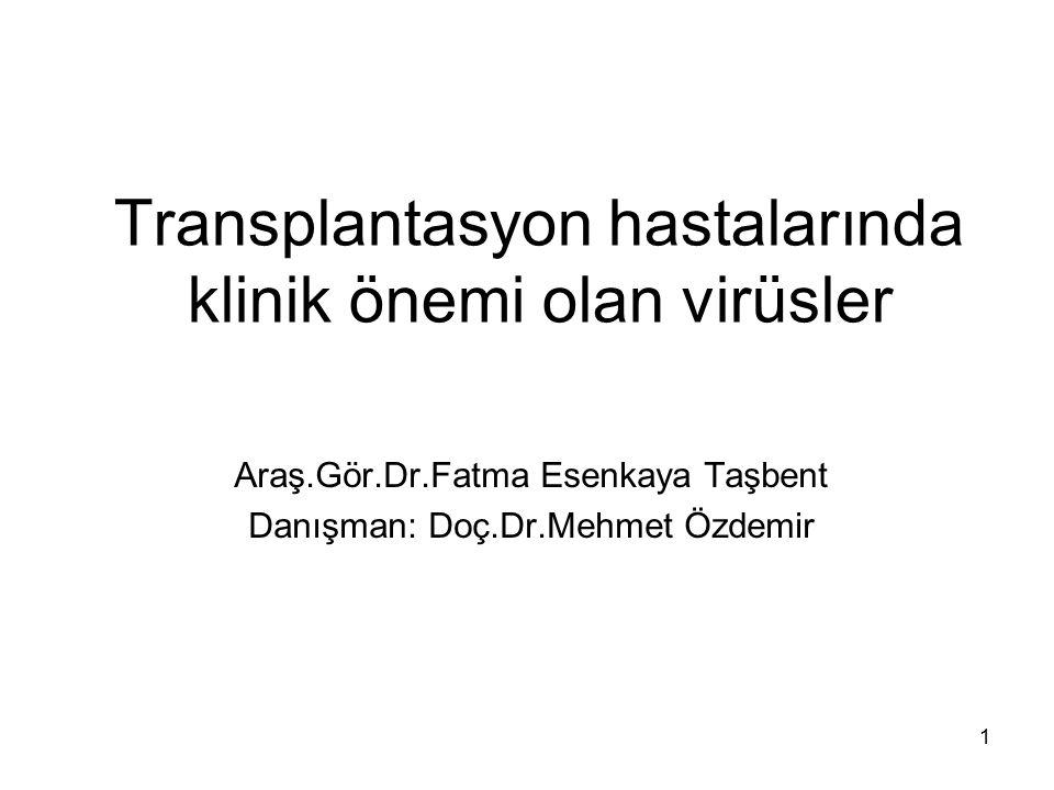 Transplantasyon hastalarında klinik önemi olan virüsler