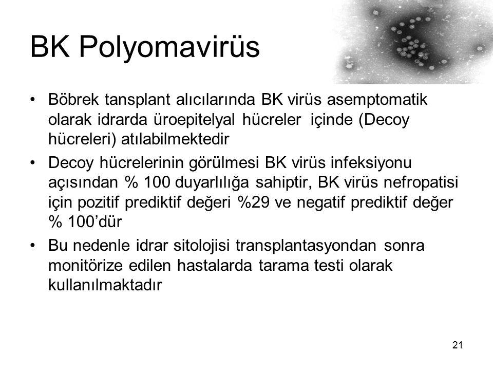 BK Polyomavirüs Böbrek tansplant alıcılarında BK virüs asemptomatik olarak idrarda üroepitelyal hücreler içinde (Decoy hücreleri) atılabilmektedir.