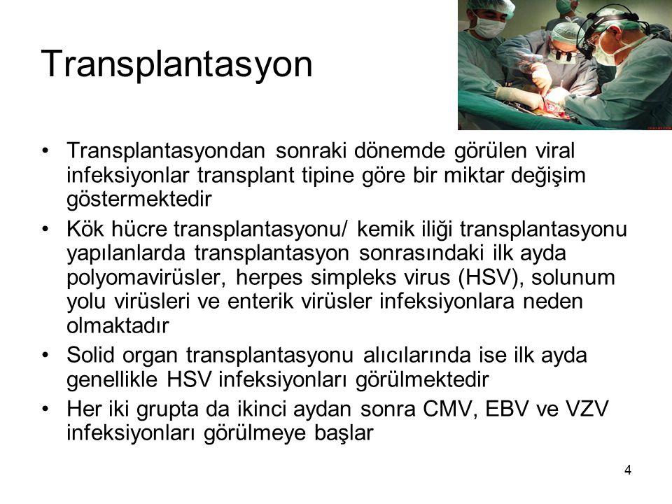 Transplantasyon Transplantasyondan sonraki dönemde görülen viral infeksiyonlar transplant tipine göre bir miktar değişim göstermektedir.
