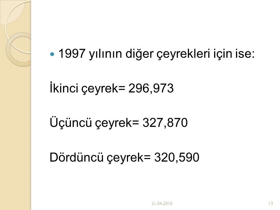 1997 yılının diğer çeyrekleri için ise: İkinci çeyrek= 296,973