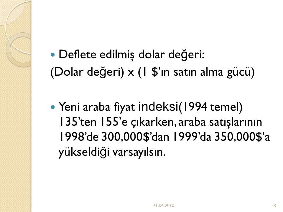 Deflete edilmiş dolar değeri: