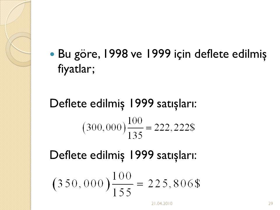 Bu göre, 1998 ve 1999 için deflete edilmiş fiyatlar;