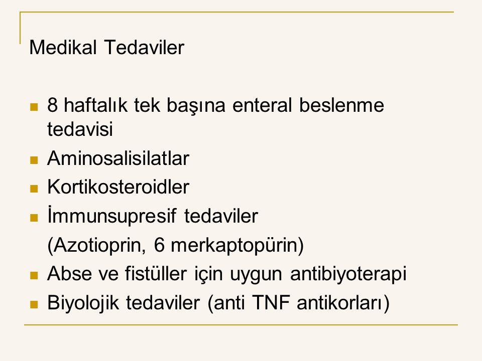 Medikal Tedaviler 8 haftalık tek başına enteral beslenme tedavisi. Aminosalisilatlar. Kortikosteroidler.