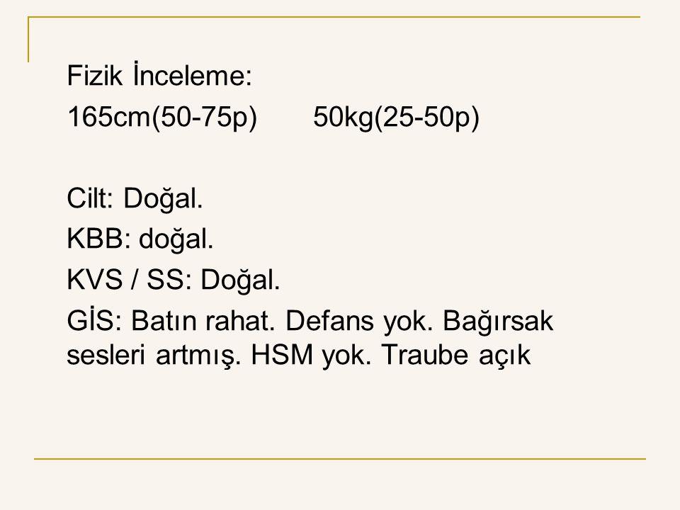 Fizik İnceleme: 165cm(50-75p) 50kg(25-50p) Cilt: Doğal. KBB: doğal. KVS / SS: Doğal.