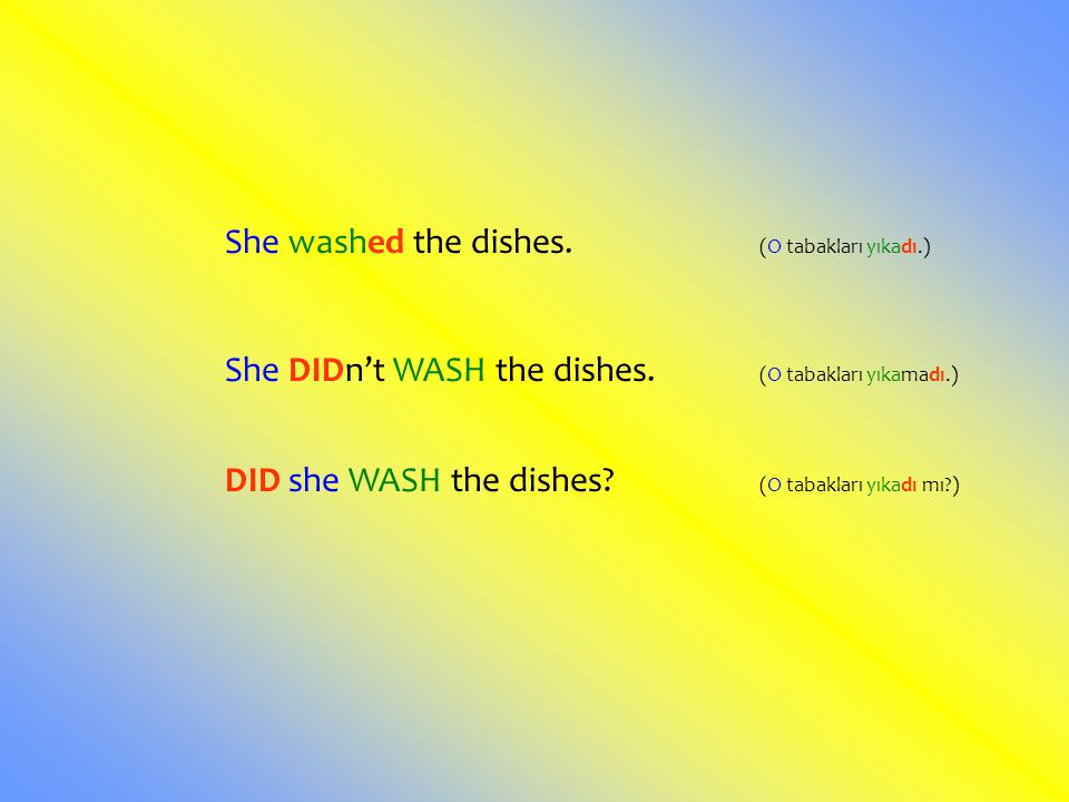 She washed the dishes. (O tabakları yıkadı.)