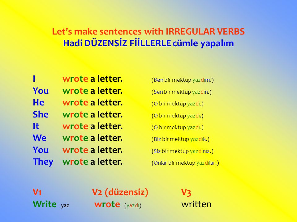 Let's make sentences with IRREGULAR VERBS
