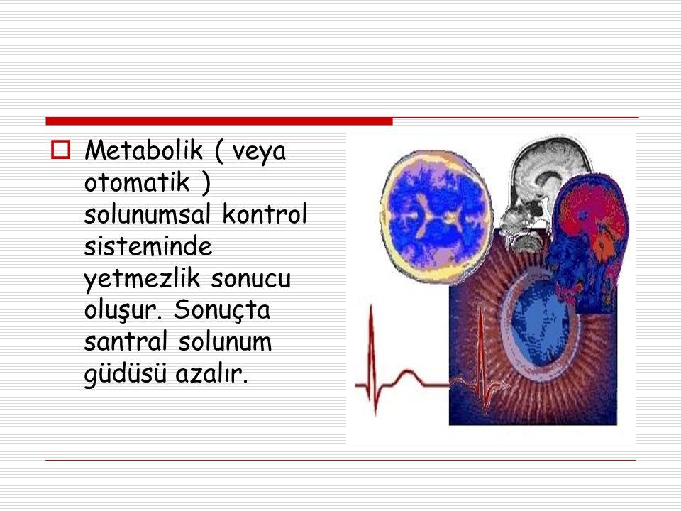 Metabolik ( veya otomatik ) solunumsal kontrol sisteminde yetmezlik sonucu oluşur.