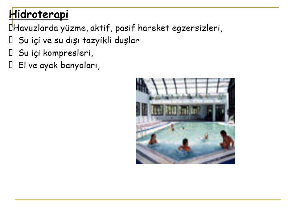 Hidroterapi Havuzlarda yüzme, aktif, pasif hareket egzersizleri,