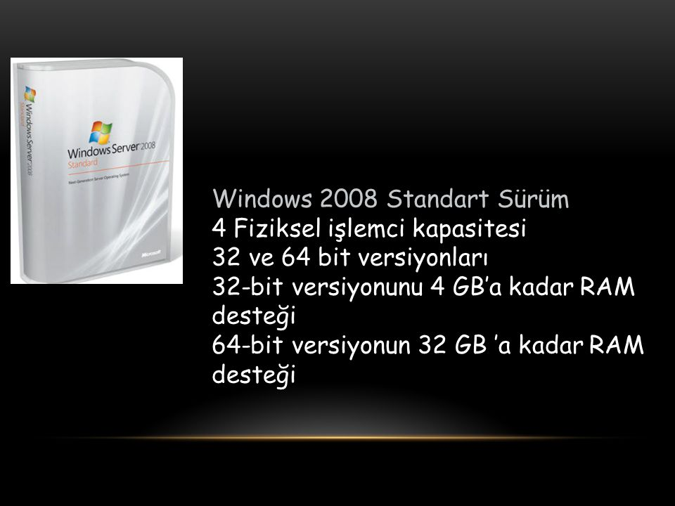Windows 2008 Standart Sürüm