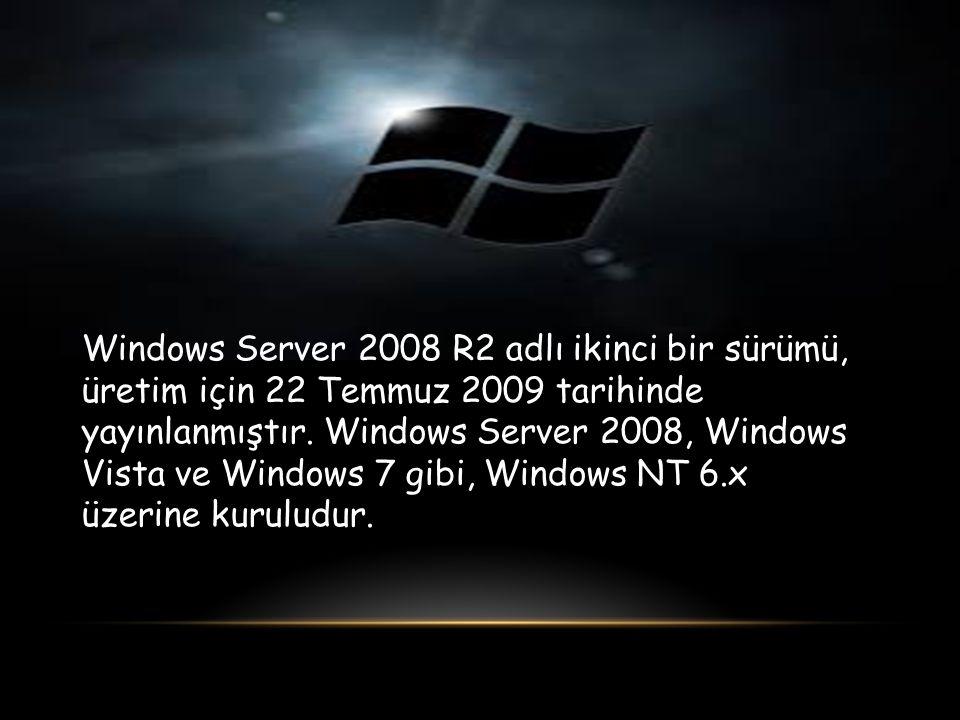 Windows Server 2008 R2 adlı ikinci bir sürümü, üretim için 22 Temmuz 2009 tarihinde yayınlanmıştır.