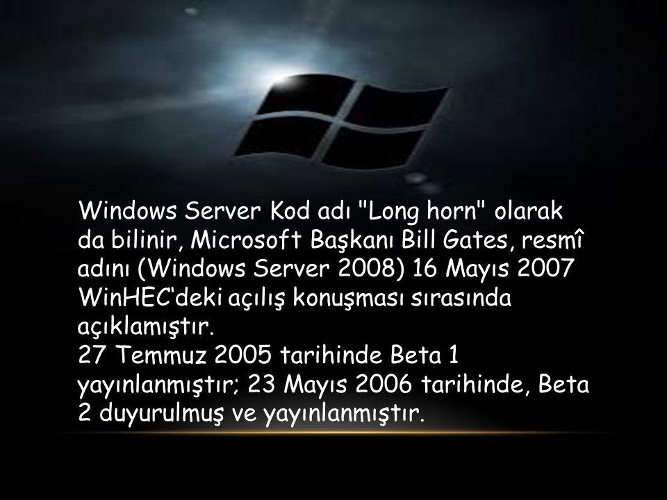 Windows Server Kod adı Long horn olarak da bilinir, Microsoft Başkanı Bill Gates, resmî adını (Windows Server 2008) 16 Mayıs 2007 WinHEC'deki açılış konuşması sırasında açıklamıştır.