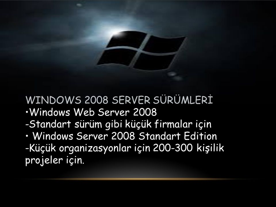 WINDOWS 2008 SERVER SÜRÜMLERİ