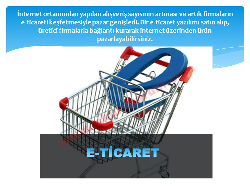 İnternet ortamından yapılan alışveriş sayısının artması ve artık firmaların e-ticareti keşfetmesiyle pazar genişledi.