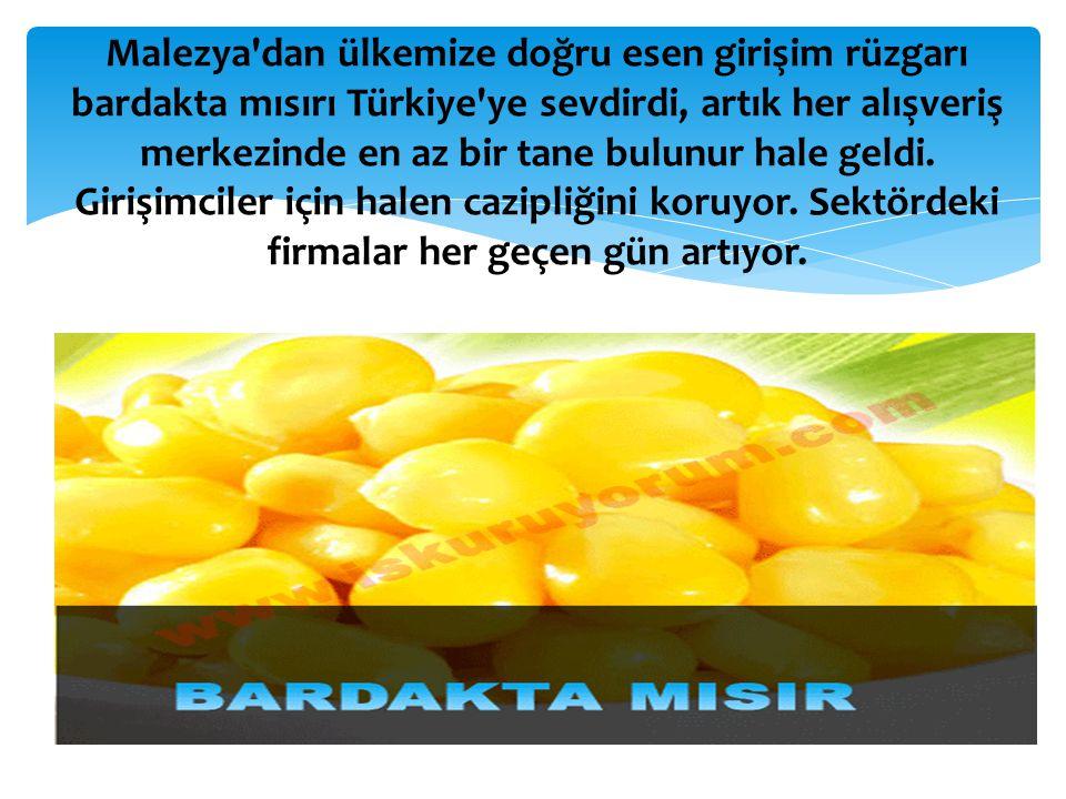 Malezya dan ülkemize doğru esen girişim rüzgarı bardakta mısırı Türkiye ye sevdirdi, artık her alışveriş merkezinde en az bir tane bulunur hale geldi.
