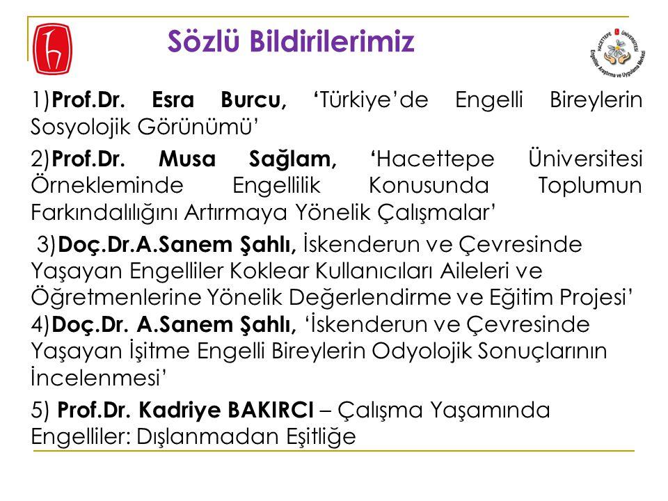 Sözlü Bildirilerimiz 1)Prof.Dr. Esra Burcu, 'Türkiye'de Engelli Bireylerin Sosyolojik Görünümü'