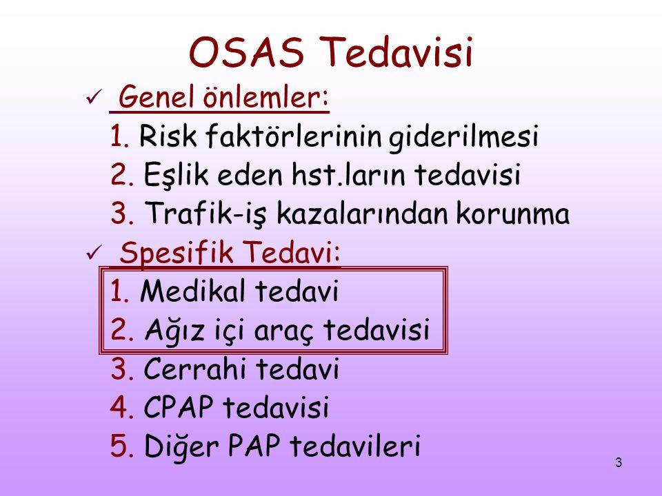 OSAS Tedavisi Genel önlemler: 1. Risk faktörlerinin giderilmesi