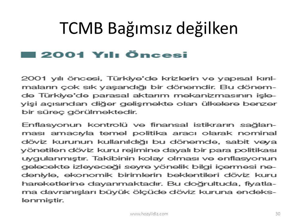 TCMB Bağımsız değilken