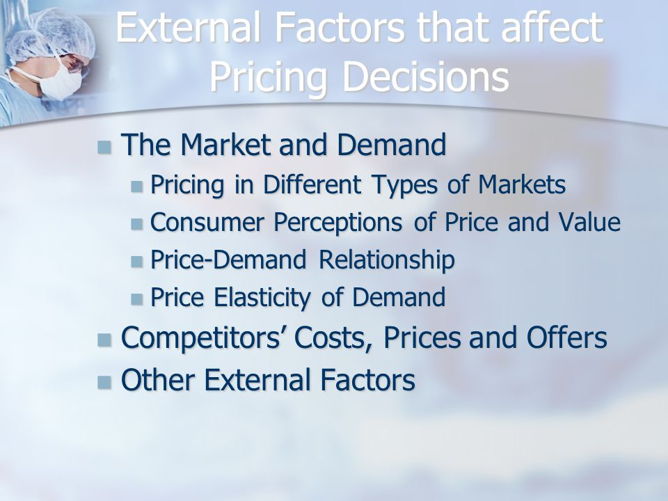 External Factors that affect Pricing Decisions