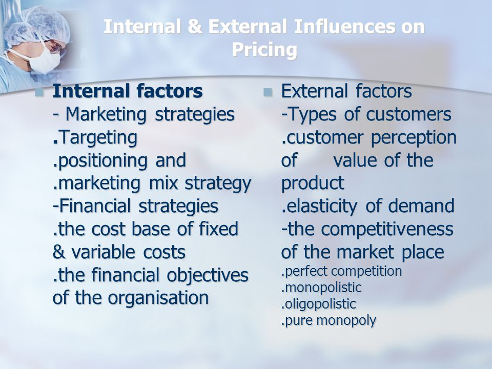 Internal & External Influences on Pricing