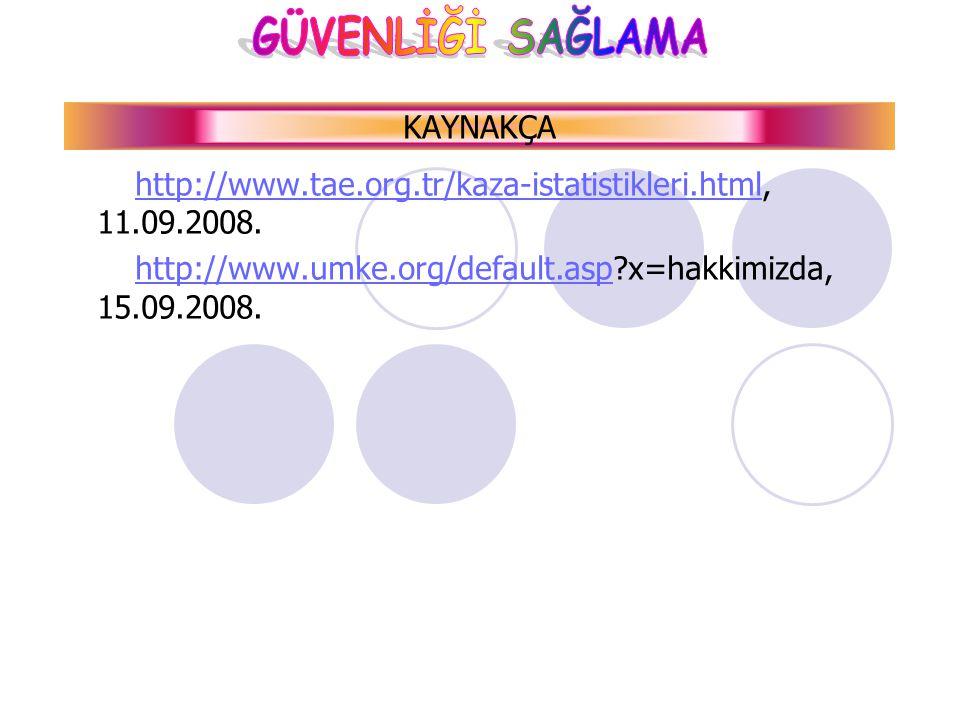 KAYNAKÇA http://www.tae.org.tr/kaza-istatistikleri.html, 11.09.2008.