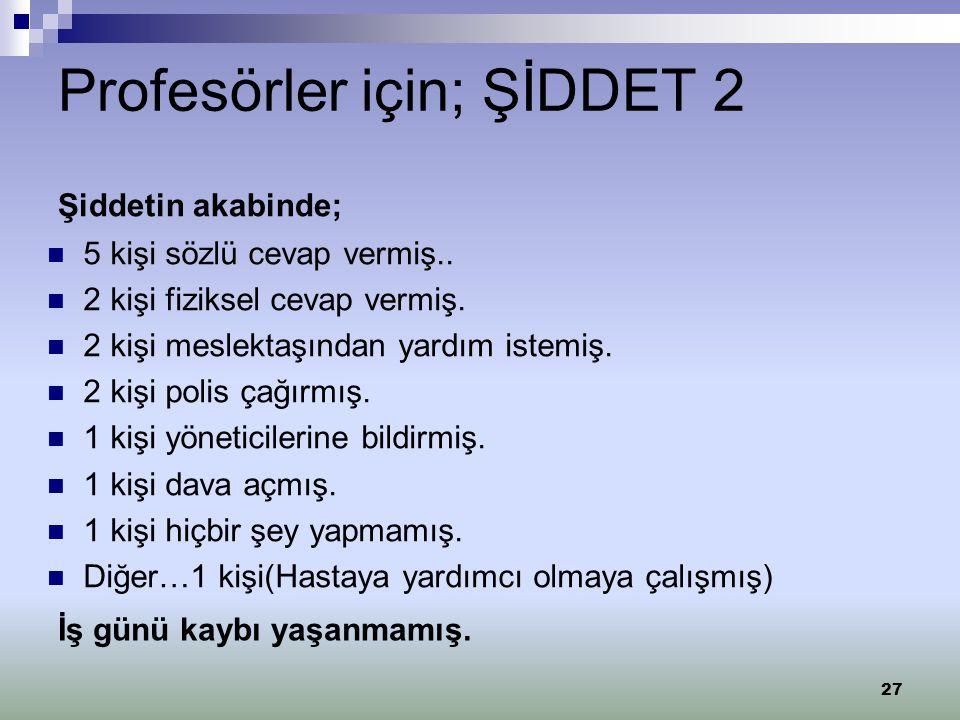 Profesörler için; ŞİDDET 2
