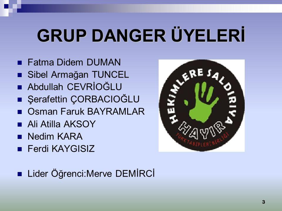 GRUP DANGER ÜYELERİ Fatma Didem DUMAN Sibel Armağan TUNCEL