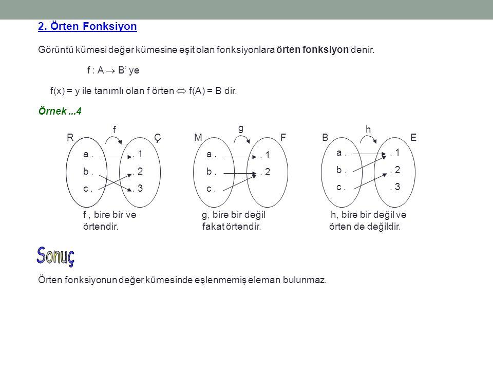 2. Örten Fonksiyon Görüntü kümesi değer kümesine eşit olan fonksiyonlara örten fonksiyon denir. f : A  B' ye.