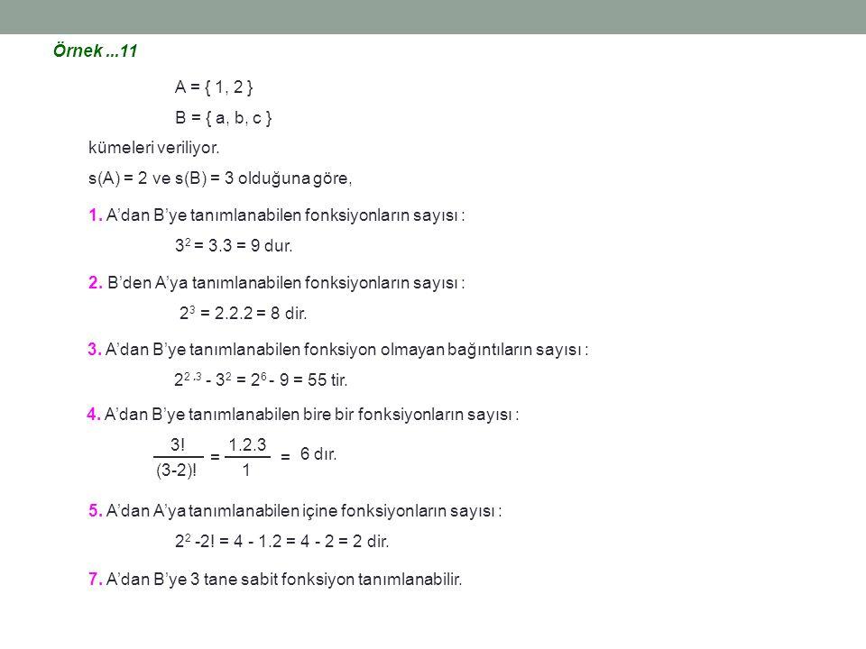 Örnek ...11 A = { 1, 2 } B = { a, b, c } kümeleri veriliyor. s(A) = 2 ve s(B) = 3 olduğuna göre,