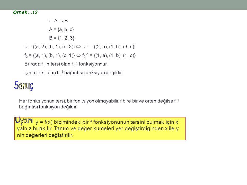 Örnek ...13 f : A  B. A = {a, b, c} B = {1, 2, 3} f1 = {(a, 2), (b, 1), (c, 3)}  f1-1 = {(2, a), (1, b), (3, c)}