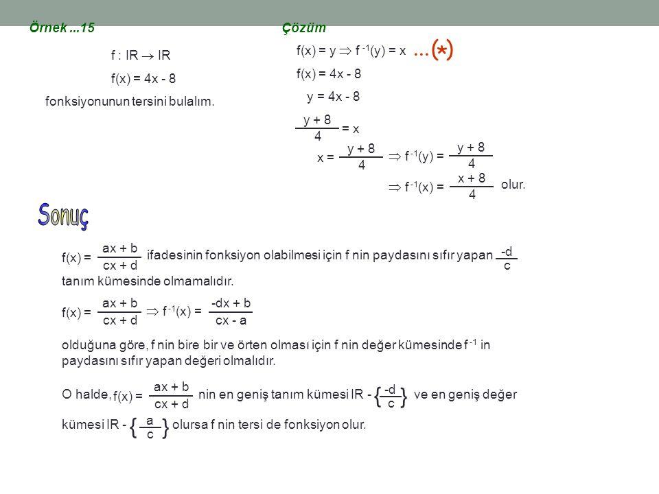 ... ( ) * { Sonuç Örnek ...15 Çözüm f(x) = y  f -1(y) = x