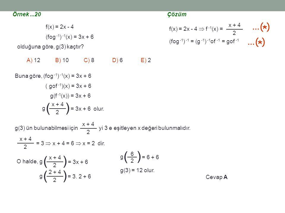 ( ) ... ( ) * Örnek ...20 Çözüm f(x) = 2x - 4  f -1(x) =