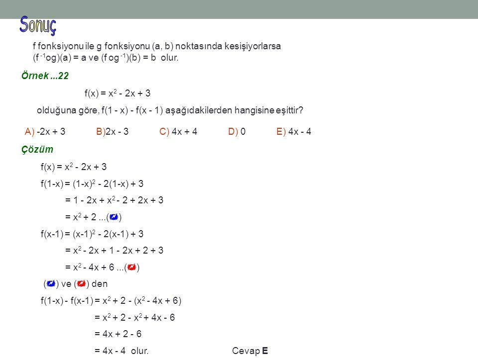 Sonuç f fonksiyonu ile g fonksiyonu (a, b) noktasında kesişiyorlarsa (f -1og)(a) = a ve (f og -1)(b) = b olur.