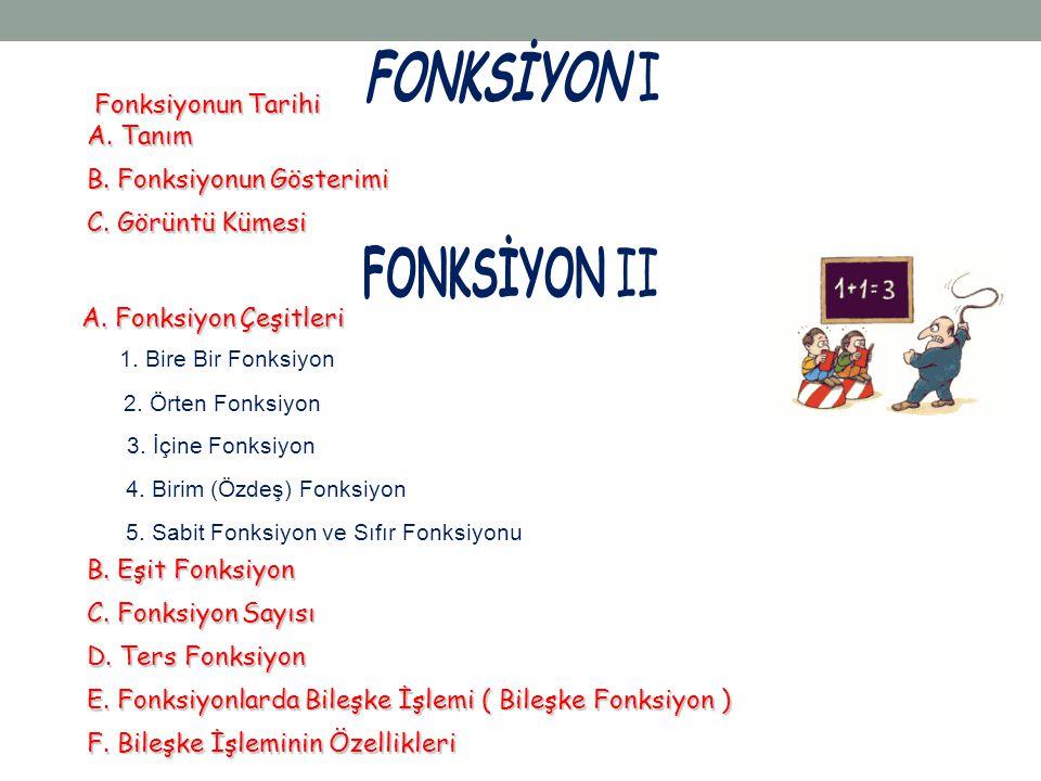 FONKSİYON I FONKSİYON II Fonksiyonun Tarihi A. Tanım