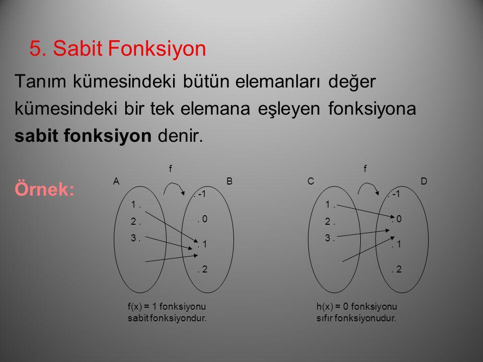 5. Sabit Fonksiyon Tanım kümesindeki bütün elemanları değer