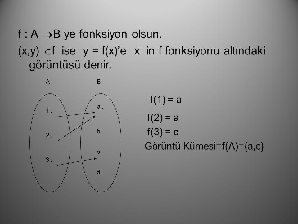 f : A B ye fonksiyon olsun.