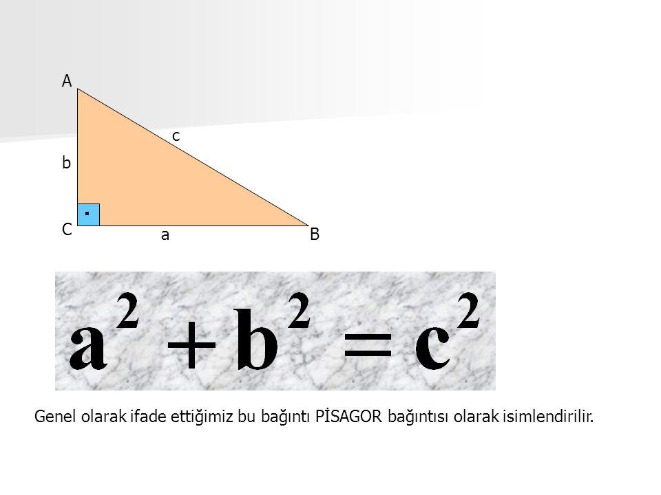 A c b C a B Genel olarak ifade ettiğimiz bu bağıntı PİSAGOR bağıntısı olarak isimlendirilir.