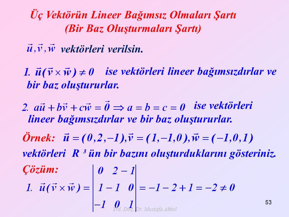 Üç Vektörün Lineer Bağımsız Olmaları Şartı