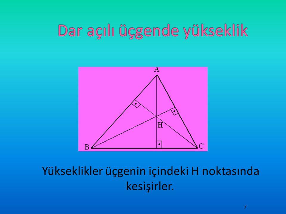 Dar açılı üçgende yükseklik